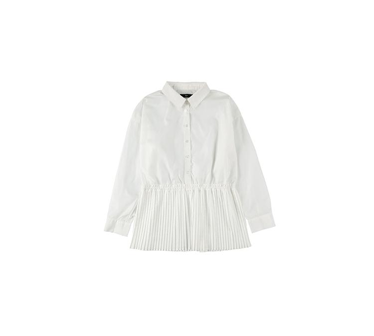 裾プリーツドレスシャツ